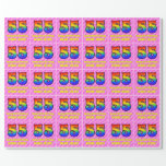 [ Thumbnail: 55th Birthday: Pink Stripes & Hearts, Rainbow # 55 Wrapping Paper ]