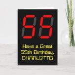 "[ Thumbnail: 55th Birthday: Red Digital Clock Style ""55"" + Name Card ]"