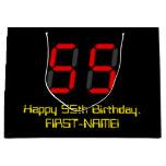 "[ Thumbnail: 55th Birthday: Red Digital Clock Style ""55"" + Name Gift Bag ]"