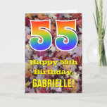 "[ Thumbnail: 55th Birthday; Rustic Autumn Leaves; Rainbow ""55"" Card ]"