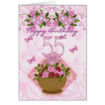 55th Birthday Special Lady, Roses And Flowers - 55 Greeting Card