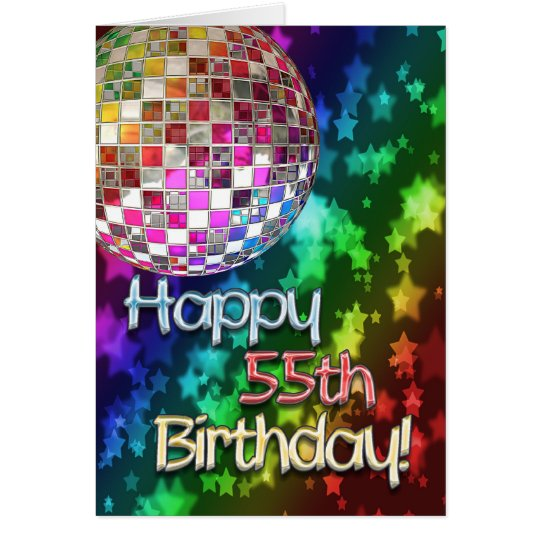 55th birthday with disco ball and rainbow of stars card