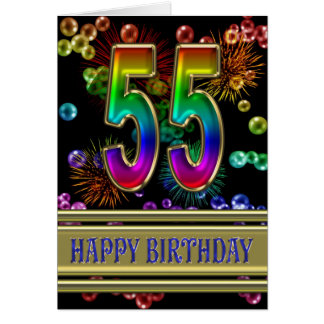 55th Birthday with rainbow bubbles and fireworks Greeting Cards