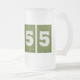 55th Birthday Yard Football Customizable Glass Mug