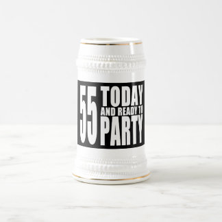 55th Birthdays Parties : 55 Today & Ready to Party 18 Oz Beer Stein