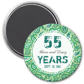 55th Emerald Wedding Anniversary Paisley Pattern Magnet