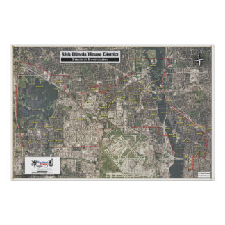 55th Illinois House District - Aerial Map Poster