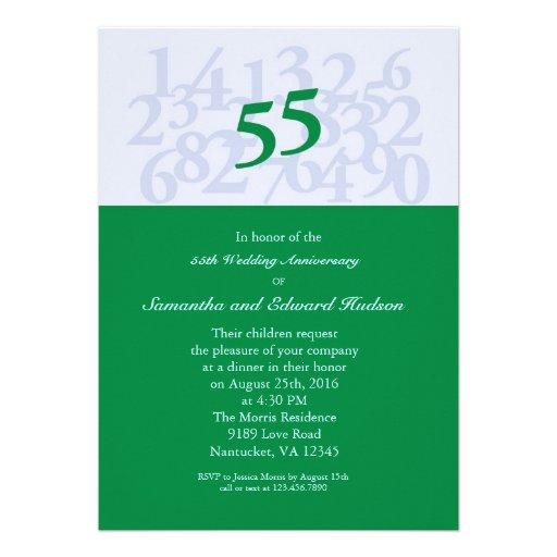 55th Emerald Wedding Anniversary Invitation 5 Quot X 7