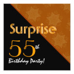 55th Surprise Birthday Black and Gold Diagonal Card