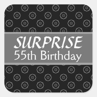 55th SURPRISE Birthday Black Silver Red Square Sticker