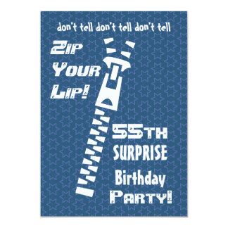 55th SURPRISE Birthday Blue Stars Zip Your Lip Card