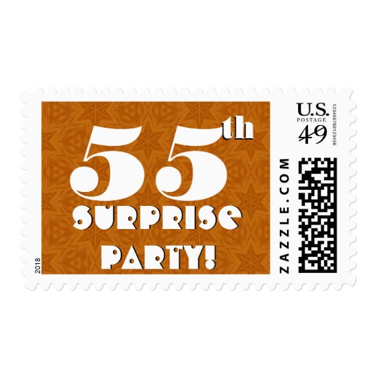 55th Surprise Birthday Party Gold and White W1275 Postage