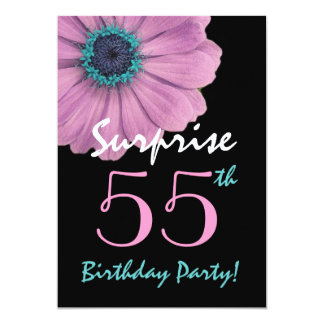 "55th Surprise Birthday Pretty Pink Daisy 5"" X 7"" Invitation Card"