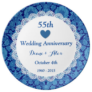 55th Wedding Anniversary BLUE DAMASK Lace D553 Dinner Plate