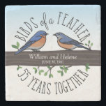 """55th Wedding Anniversary, Bluebirds of a Feather Stone Coaster<br><div class=""""desc"""">Birdwatchers will adore this custom 55th wedding anniversary keepsake! A male and female bluebird perching on a leafy tree branch are surrounded by handwritten text that reads, """"Birds of a Feather, 55 Years Together. Two names and a wedding date are featured near the center and can be personalized. Perfect for...</div>"""