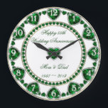 """55th Wedding Anniversary Clock<br><div class=""""desc"""">A Digitalbcon Images Design featuring an emerald green and white color theme with a variety of custom images, shapes, patterns, styles and fonts in this one-of-a-kind &quot;Emerald Wedding Anniversary&quot; Clock. This attractive and elegant design comes complete with customizable text lettering and white number circle frame to signify the hours and...</div>"""