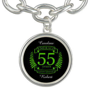 55th Wedding ANNIVERSARY EMERALD Charm Bracelets