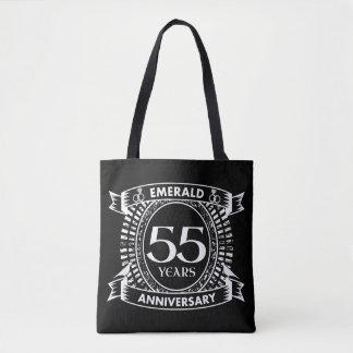 55th wedding anniversary emerald crest tote bag