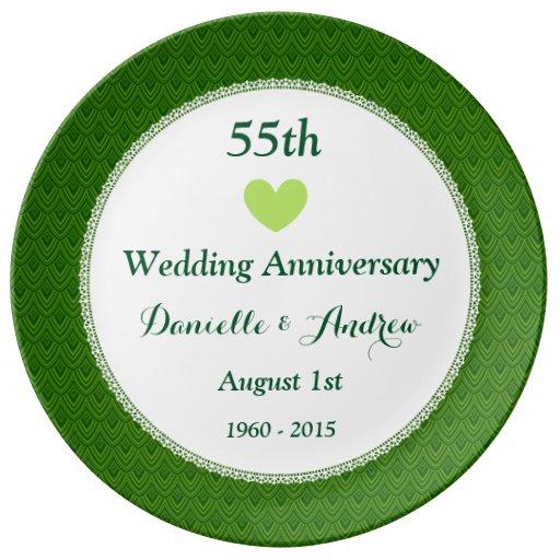 55th Wedding Anniversary EMERALD GREEN Damask W55D Porcelain Plate