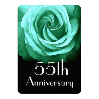 55th Wedding Anniversary Emerald Green Rose A02 Card