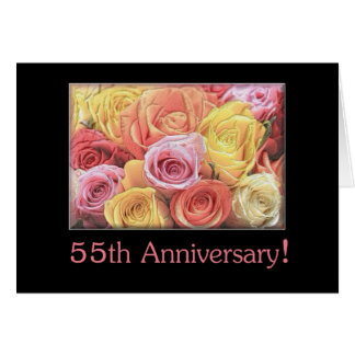 55th Wedding Anniversary mixed rose bouquet Card