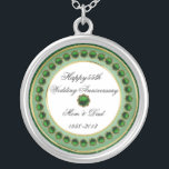 """55th Wedding Anniversary Necklace<br><div class=""""desc"""">A Digitalbcon Images Design featuring an Emerald Green color theme with a variety of custom images, shapes, patterns and styles in this one-of-a-kind """"Emerald Wedding Anniversary"""" Necklace. This elegant and colorful design makes the ideal gift for the Anniversary gift for the wife or as a gift for family and friends...</div>"""