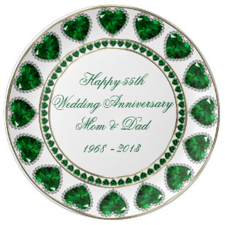 55th Wedding Anniversary Porcelain Plate at Zazzle