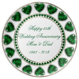 55th Wedding Anniversary Porcelain Plate