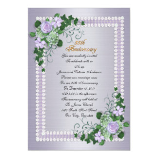 55th Wedding anniversary vow renewal Lavender 5x7 Paper Invitation Card