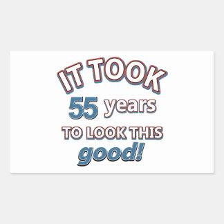 55th year birthday designs rectangular sticker