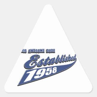 55th year old birthday designs triangle sticker