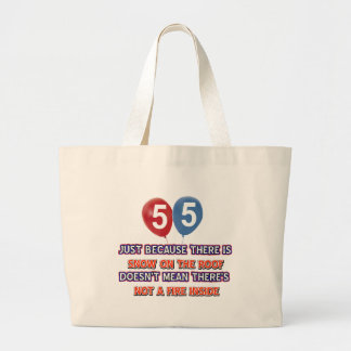 55th year old snow on the roof birthday designs bags
