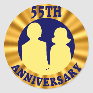 55thweddinganniversaryb4 classic round sticker
