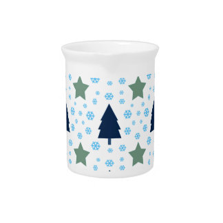 561 Cute Christmas tree and stars pattern.jpg Beverage Pitcher
