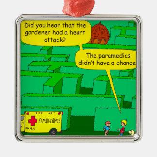 561 Garden maze heart attack cartoon Metal Ornament