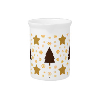 562 Cute Christmas tree and stars pattern.jpg Drink Pitcher