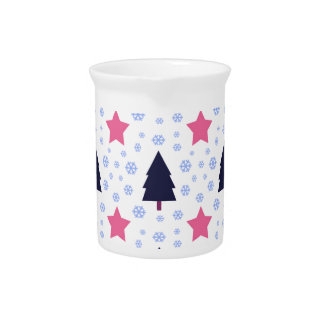 563 Cute Christmas tree and stars pattern.jpg Pitcher