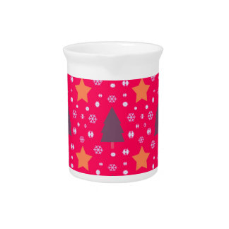 565 Cute Christmas tree and stars pattern.jpg Pitcher