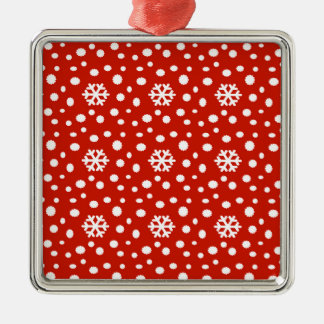 566 Cute Christmas snowflake pattern.jpg Metal Ornament