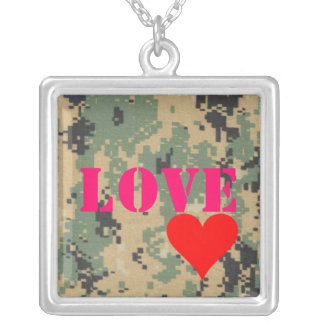 566, red-heart, Love Square Pendant Necklace