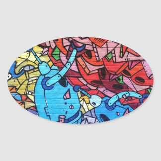 569 GRAFFITI GANGSTER COLOURFUL CITY WALL BACKGROU OVAL STICKER
