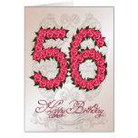 56.a tarjeta de cumpleaños con los rosas y las