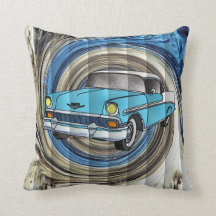 56 Chevy Faux Tuck & Roll Swirl Pillows
