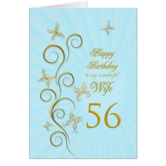 56.o cumpleaños de la esposa con las mariposas de tarjeta de felicitación
