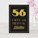 "[ Thumbnail: 56th Birthday – Art Deco Inspired Look ""56"" & Name Card ]"