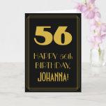 "[ Thumbnail: 56th Birthday – Art Deco Inspired Look ""56"" & Name Card ]"