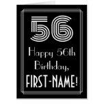 "[ Thumbnail: 56th Birthday — Art Deco Inspired Look ""56"" + Name Card ]"