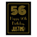 "[ Thumbnail: 56th Birthday: Art Deco Inspired Look ""56"" + Name Card ]"