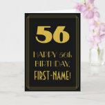 "[ Thumbnail: 56th Birthday ~ Art Deco Inspired Look ""56"" & Name Card ]"