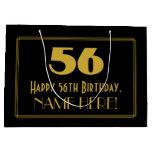 "[ Thumbnail: 56th Birthday — Art Deco Inspired Look ""56"" & Name Gift Bag ]"